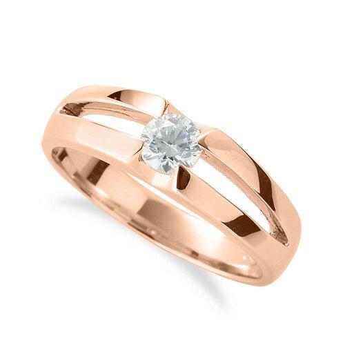 指輪 18金 ピンクゴールド 天然石 一粒リング 主石の直径約4.4mm ソリティア 割り腕|K18PG 18k 貴金属 ジュエリー レディース メンズ
