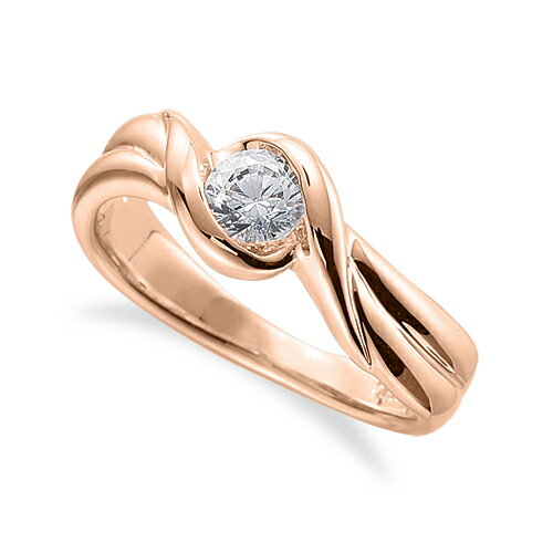 指輪 18金 ピンクゴールド 天然石 一粒リング 主石の直径約3.0mm ソリティア 抱き合わせ腕 レール留め|K18PG 18k 貴金属 ジュエリー レディース メンズ