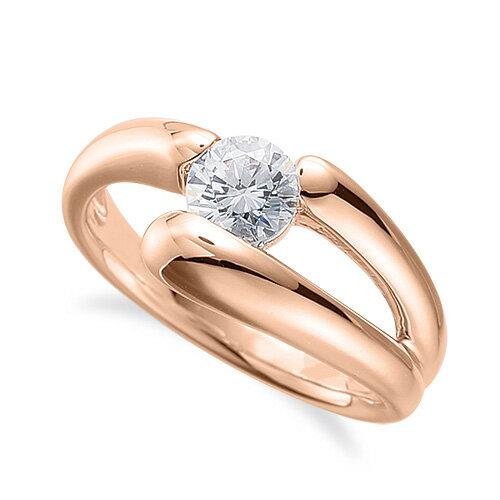 指輪 18金 ピンクゴールド 天然石 一粒リング 主石の直径約5.2mm ソリティア 割り腕 レール留め|K18PG 18k 貴金属 ジュエリー レディース メンズ