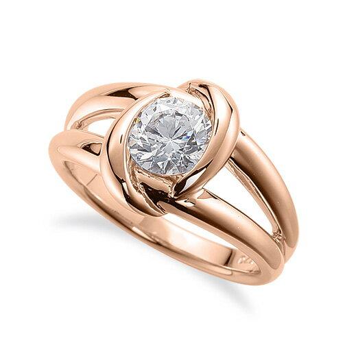 指輪 18金 ピンクゴールド 天然石 一粒リング 主石の直径約3.8mm ソリティア 割り腕 レール留め K18PG 18k 貴金属 ジュエリー レディース メンズ