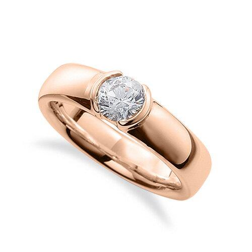 指輪 18金 ピンクゴールド 天然石 一粒リング 主石の直径約5.2mm ソリティア レール留め|K18PG 18k 貴金属 ジュエリー レディース メンズ