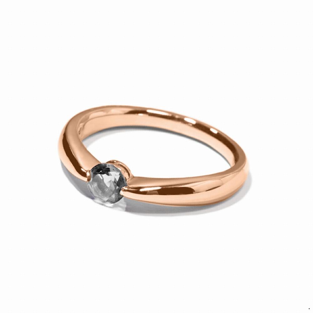 指輪 18金 ピンクゴールド 天然石 一粒リング 主石の直径約4.4mm ソリティア しぼり腕 二本爪留め|K18PG 18k 貴金属 ジュエリー レディース メンズ