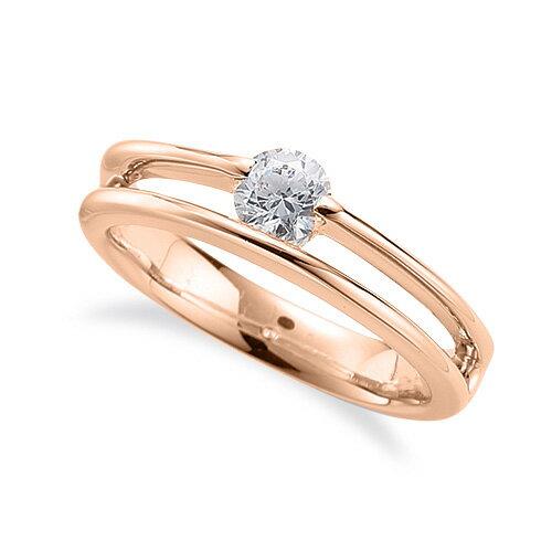 指輪 18金 ピンクゴールド 天然石 一粒リング 主石の直径約4.4mm ソリティア 割り腕 レール留め|K18PG 18k 貴金属 ジュエリー レディース メンズ
