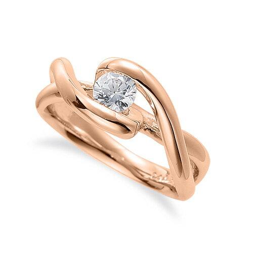 指輪 18金 ピンクゴールド 天然石 腕のラインがスタイリッシュな一粒リング 主石の直径約4.4mm ソリティア 割り腕 レール留め|K18PG 18k 貴金属 ジュエリー レディース メンズ