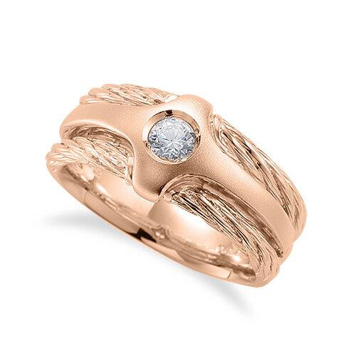 指輪 18金 ピンクゴールド 天然石 ワイヤーモチーフの一粒リング 主石の直径約3.8mm ソリティア|K18PG 18k 貴金属 ジュエリー レディース メンズ