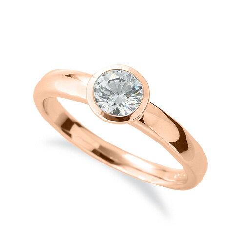 指輪 18金 ピンクゴールド 天然石 一粒リング 主石の直径約5.2mm ソリティア K18PG 18k 貴金属 ジュエリー レディース メンズ