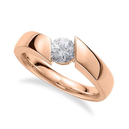 指輪 18金 ピンクゴールド 天然石 一粒リング 主石の直径約3.8mm ソリティア 平打ち|K18PG 18k 貴金属 ジュエリー レディース メンズ