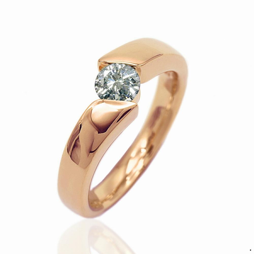 指輪 18金 ピンクゴールド 天然石 一粒リング 主石の直径約5.2mm ソリティア 平打ち|K18PG 18k 貴金属 ジュエリー レディース メンズ