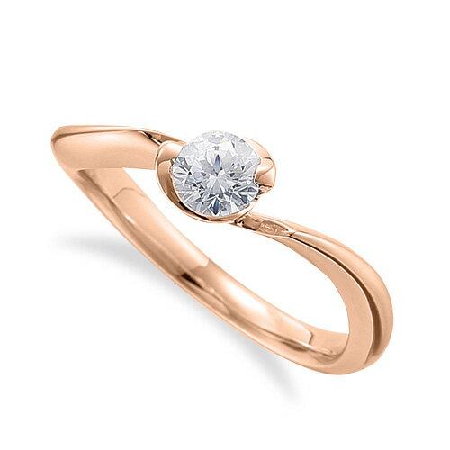 指輪 18金 ピンクゴールド 天然石 一粒リング 主石の直径約5.2mm ソリティア ウェーブ|K18PG 18k 貴金属 ジュエリー レディース メンズ