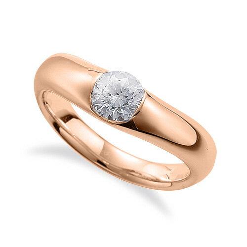 指輪 18金 ピンクゴールド 天然石 一粒リング 主石の直径約3.8mm ソリティア V字 レール留め K18PG 18k 貴金属 ジュエリー レディース メンズ