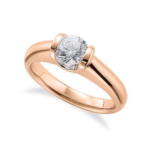 指輪 18金 ピンクゴールド 天然石 一粒リング 主石の直径約4.4mm ソリティア K18PG 18k 貴金属 ジュエリー レディース メンズ