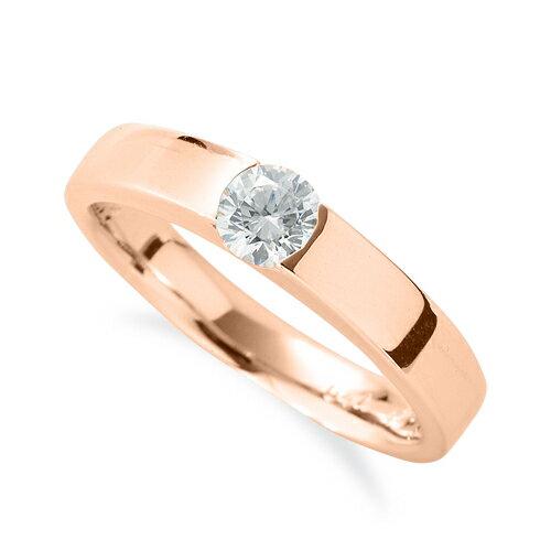 指輪 18金 ピンクゴールド 天然石 一粒リング 主石の直径約4.4mm ソリティア 平打ち レール留め K18PG 18k 貴金属 ジュエリー レディース メンズ