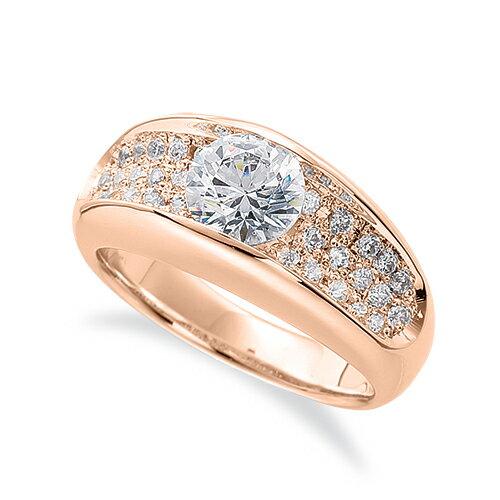 指輪 18金 ピンクゴールド 天然石 サイドパヴェリング 主石の直径約3.8mm レール留め|K18PG 18k 貴金属 ジュエリー レディース メンズ