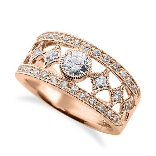 指輪 18金 ピンクゴールド 天然石 ミル打ちと透かしのサイドストーンリング 主石の直径約3.8mm レール留め|K18PG 18k 貴金属 ジュエリー レディース メンズ