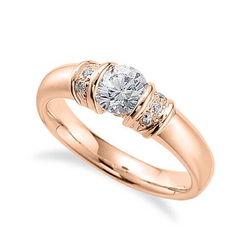 指輪 18金 ピンクゴールド 天然石 サイドストーンリング 主石の直径約5.2mm レール留め|K18PG 18k 貴金属 ジュエリー レディース メンズ