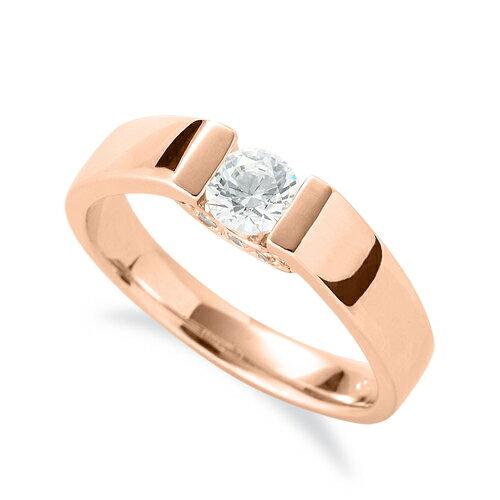 指輪 18金 ピンクゴールド 天然石 側面にメレ付きの一粒リング 主石の直径約4.4mm ソリティア 平打ち レール留め|K18PG 18k 貴金属 ジュエリー レディース メンズ