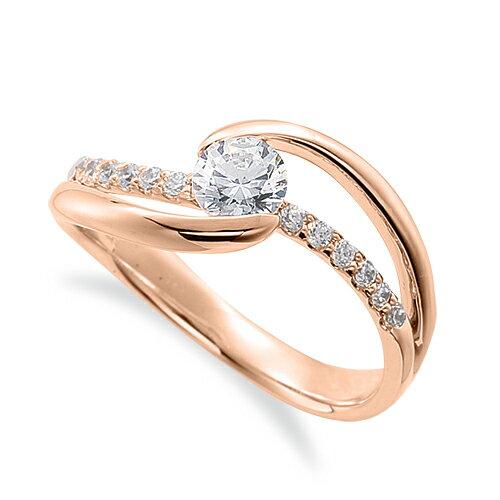 指輪 18金 ピンクゴールド 天然石 メレがラインになったサイドストーンリング 主石の直径約5.2mm ウェーブ 割り腕 レール留め K18PG 18k 貴金属 ジュエリー レディース メンズ