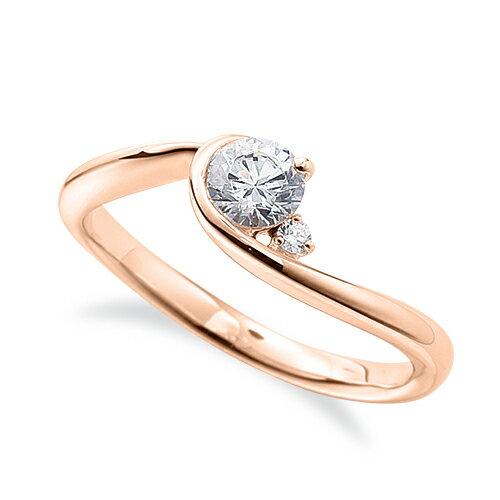 指輪 18金 ピンクゴールド 天然石 サイドストーンリング 主石の直径約4.4mm ウェーブ レール留め|K18PG 18k 貴金属 ジュエリー レディース メンズ