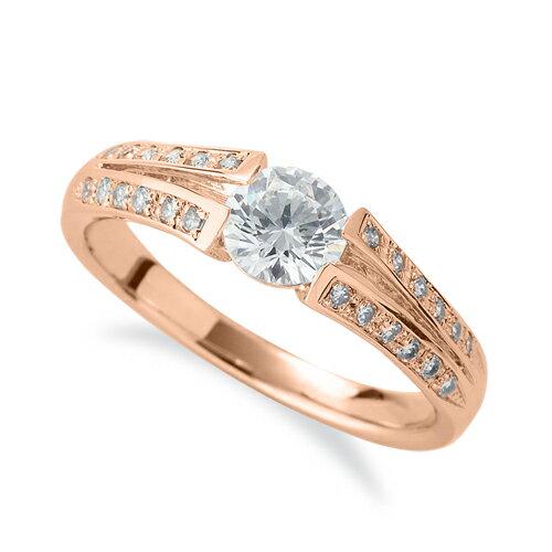 指輪 18金 ピンクゴールド 天然石 メレがラインになったサイドストーンリング 主石の直径約5.2mm 割り腕|K18PG 18k 貴金属 ジュエリー レディース メンズ