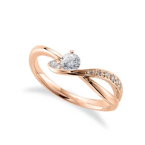 指輪 18金 ピンクゴールド 天然石 サイドストーンリング 主石の直径約3.8mm ウェーブ 割り腕 K18PG 18k 貴金属 ジュエリー レディース メンズ