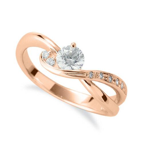 指輪 18金 ピンクゴールド 天然石 サイドストーンリング 主石の直径約4.4mm ウェーブ 割り腕|K18PG 18k 貴金属 ジュエリー レディース メンズ
