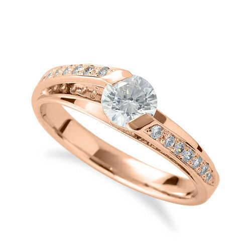 指輪 18金 ピンクゴールド 天然石 メレがラインになったサイドストーンリング 主石の直径約5.2mm|K18PG 18k 貴金属 ジュエリー レディース メンズ