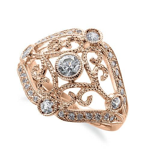 指輪 18金 ピンクゴールド 天然石 ミル打ちと透かしが豪華な取り巻きリング 主石の直径約3.8mm|K18PG 18k 貴金属 ジュエリー レディース メンズ