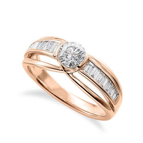 指輪 18金 ピンクゴールド 天然石 バゲットメレのサイド一文字リング 主石の直径約5.2mm 割り腕|K18PG 18k 貴金属 ジュエリー レディース メンズ