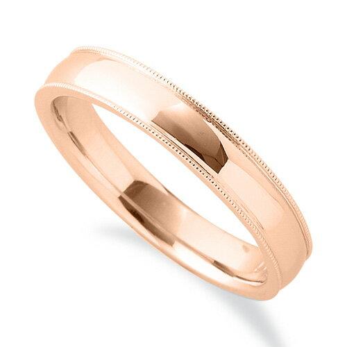 幅3.8mm|K18PG メンズ プレゼント ピンクゴールド 18k ギフト 無料ラッピング レディース 母の日 指輪 18金 シンプルで上品なミル打ちリング 貴金属 ジュエリー