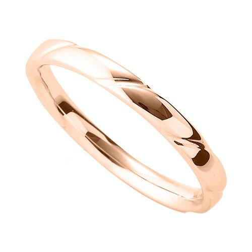 指輪 18金 ピンクゴールド 斜めの彫り込みデザインリング 幅2.4mm|K18PG 18k 貴金属 ジュエリー レディース メンズ