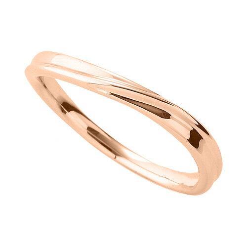 指輪 18金 ピンクゴールド シンプルモダンなウェーブリング 幅2.5mm|K18PG 18k 貴金属 ジュエリー レディース メンズ