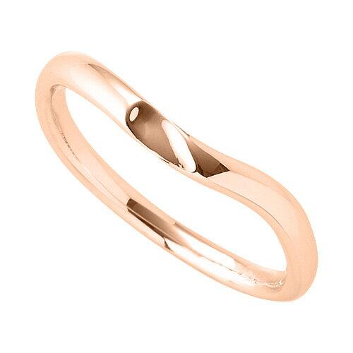 指輪 18金 ピンクゴールド 窪みのあるV字リング 幅2.4mm|K18PG 18k 貴金属 ジュエリー レディース メンズ