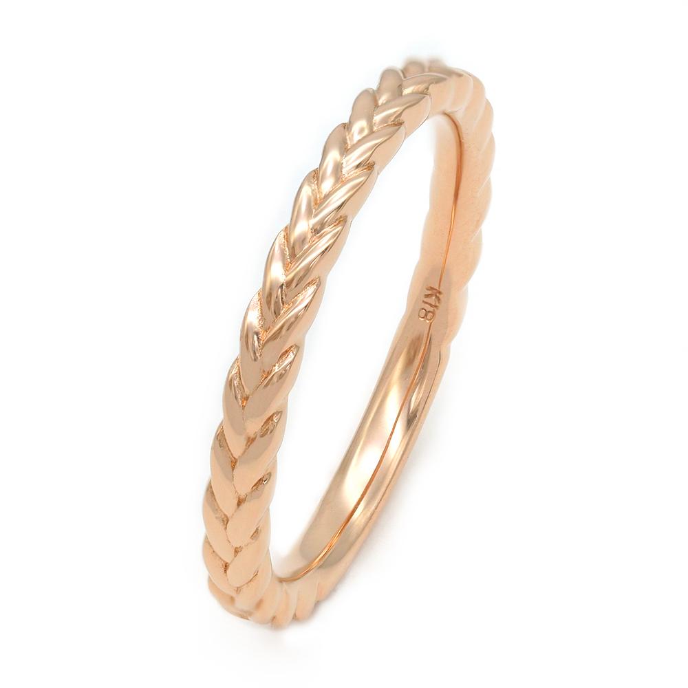 指輪 18金 ピンクゴールド 編み込み模様のデザインリング 幅2.3mm|K18PG 18k 貴金属 ジュエリー レディース メンズ