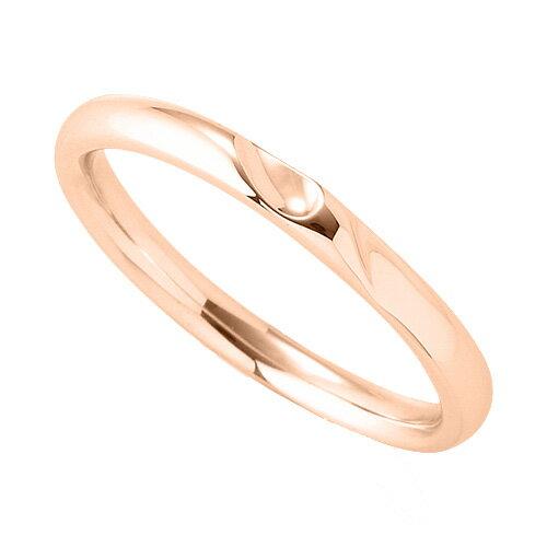 指輪 18金 ピンクゴールド 窪みのあるデザインリング 幅2.4mm|K18PG 18k 貴金属 ジュエリー レディース メンズ