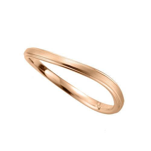 指輪 18金 ピンクゴールド 段付きウェーブリング 幅2.1mm|K18PG 18k 貴金属 ジュエリー レディース メンズ