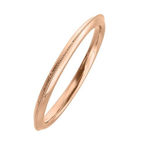 指輪 18金 ピンクゴールド 上品なミル打ちラインリング 幅1.7mm|K18PG 18k 貴金属 ジュエリー レディース メンズ
