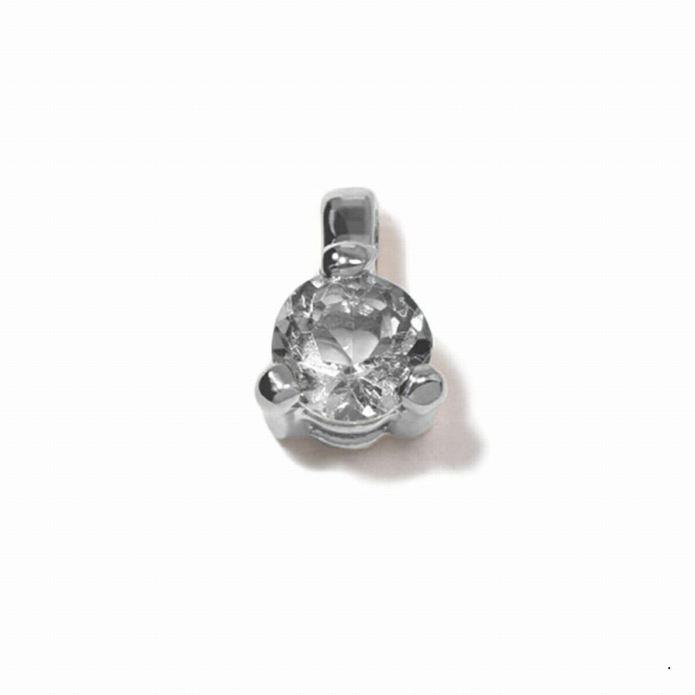ペンダントトップ 18金 ホワイトゴールド 天然石 一粒ペンダント 主石の直径約3.4mm 二段腰 三本爪留め ペンダントヘッドのみ|K18WG 18k 貴金属 ジュエリー レディース メンズ