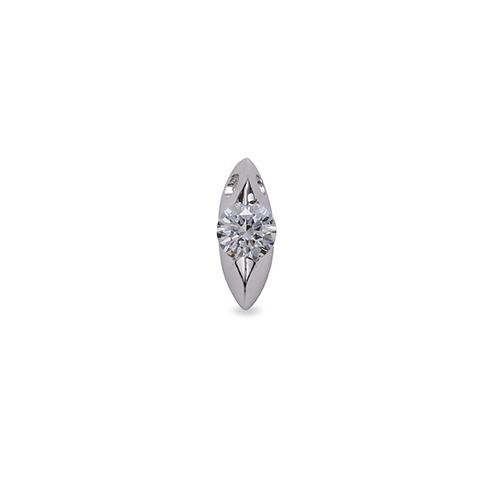 ペンダントトップ 18金 ホワイトゴールド 天然石 マーキス型石座の一粒ペンダント 主石の直径約5.2mm 二本爪留め ペンダントヘッドのみ K18WG 18k 貴金属 ジュエリー レディース メンズ