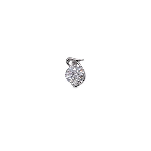 ペンダントトップ 18金 ホワイトゴールド 天然石 T イニシャルモチーフの一粒ペンダント 主石の直径約3.8mm ペンダントヘッドのみ|K18WG 18k 貴金属 ジュエリー レディース メンズ
