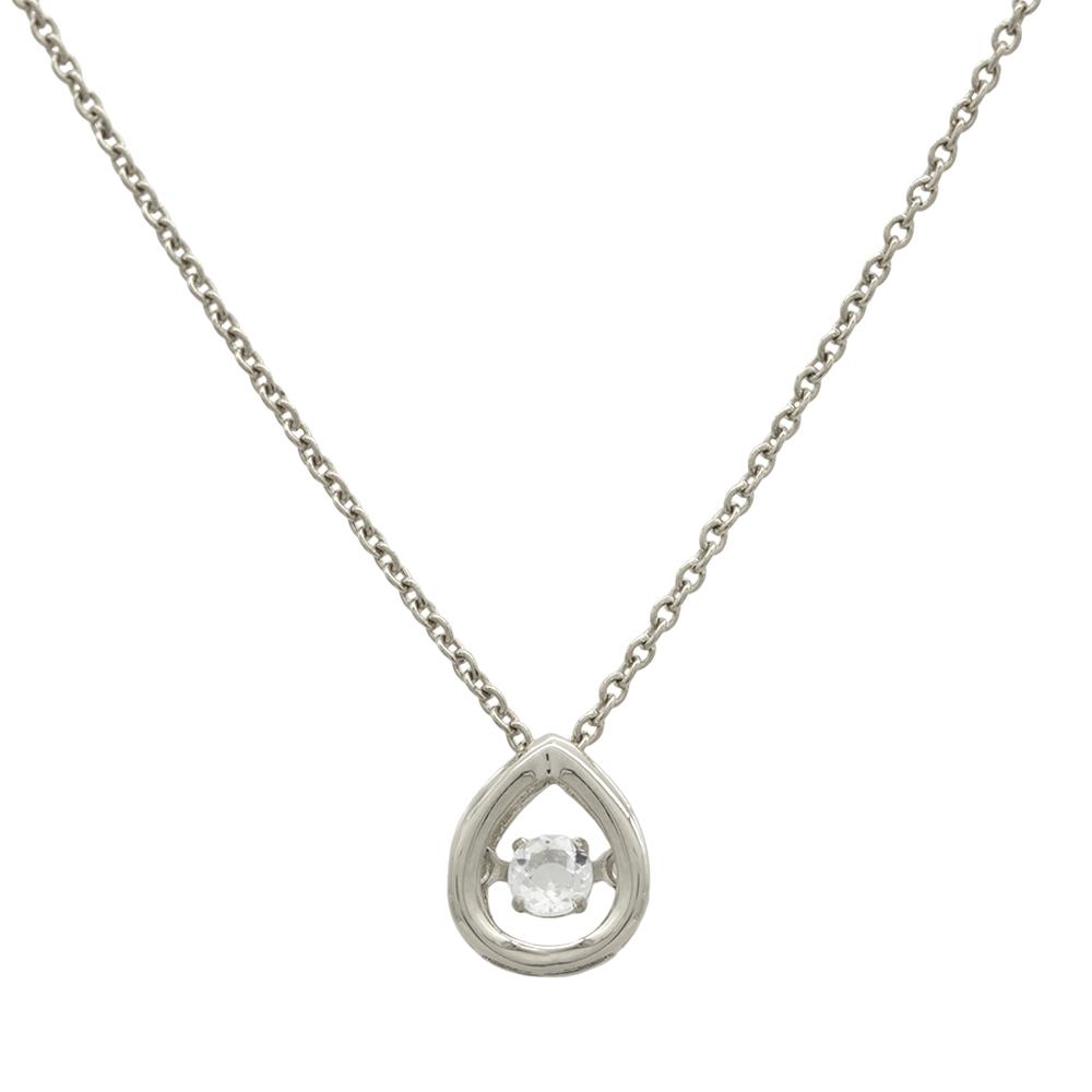 ペンダントトップ 18金 ホワイトゴールド 天然石 主石が揺れるティアドロップ型の一粒ペンダント 主石の直径約3.0mm ダンシングストーン ペンダントヘッドのみ|K18WG 18k 貴金属 ジュエリー レディース メンズ