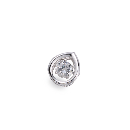 ペンダントトップ 18金 ホワイトゴールド 天然石 主石が揺れるティアドロップ型の一粒ペンダント 主石の直径約3.8mm ダンシングストーン ペンダントヘッドのみ|K18WG 18k 貴金属 ジュエリー レディース メンズ