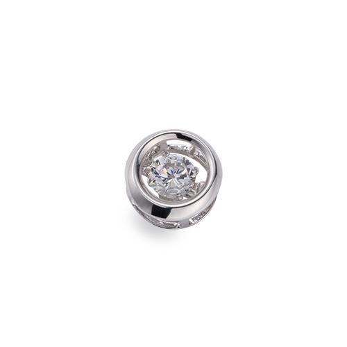 ペンダントトップ 18金 ホワイトゴールド 天然石 主石が揺れるラウンド型の一粒ペンダント 主石の直径約3.8mm ダンシングストーン ペンダントヘッドのみ|K18WG 18k 貴金属 ジュエリー レディース メンズ