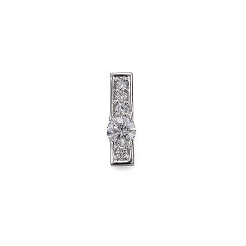ペンダントトップ 18金 ホワイトゴールド 天然石 メレが並んだスティックペンダント 主石の直径約4.4mm 四本爪留め ペンダントヘッドのみ|K18WG 18k 貴金属 ジュエリー レディース メンズ