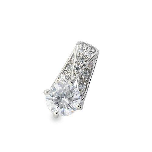 ペンダントトップ 18金 ホワイトゴールド 天然石 パヴェバチカンの一粒ペンダント 主石の直径約5.2mm 四本爪留め ペンダントヘッドのみ|K18WG 18k 貴金属 ジュエリー レディース メンズ