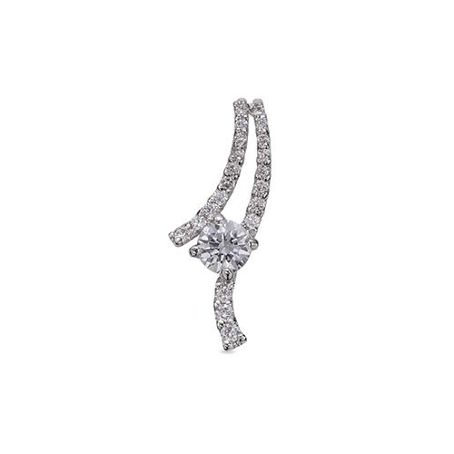ペンダントトップ 18金 ホワイトゴールド 天然石 ウェーブモチーフにメレが並んだ一粒ペンダント 主石の直径約4.4mm 四本爪留め ペンダントヘッドのみ|K18WG 18k 貴金属 ジュエリー レディース メンズ