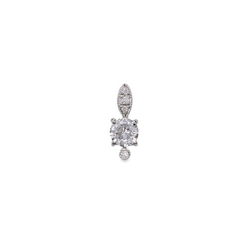 ペンダントトップ 18金 ホワイトゴールド 天然石 メレ周りミル打ちペンダント 主石の直径約5.2mm 四本爪留め ペンダントヘッドのみ|K18WG 18k 貴金属 ジュエリー レディース メンズ