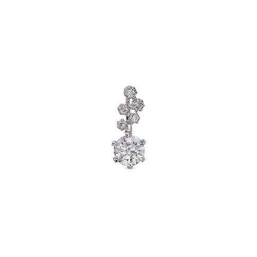 ペンダントトップ 18金 ホワイトゴールド 天然石 小花モチーフのメレが付いた一粒ペンダント 主石の直径約3.8mm 六本爪留め ペンダントヘッドのみ|K18WG 18k 貴金属 ジュエリー レディース メンズ