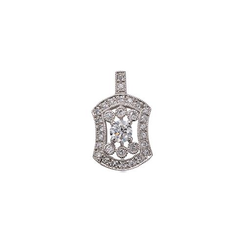 ペンダントトップ 18金 ホワイトゴールド 天然石 ミル打ちと透かしの取り巻きペンダント 主石の直径約3.0mm 四本爪留め ペンダントヘッドのみ|K18WG 18k 貴金属 ジュエリー レディース メンズ