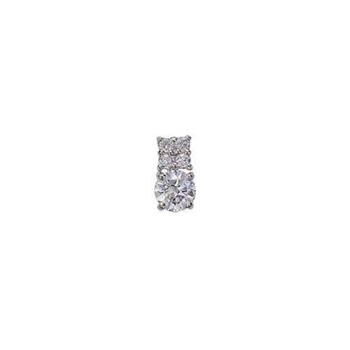 ペンダントトップ 18金 ホワイトゴールド 天然石 メレ付きバチカンの一粒ペンダント 主石の直径約4.4mm 四本爪留め ペンダントヘッドのみ|K18WG 18k 貴金属 ジュエリー レディース メンズ