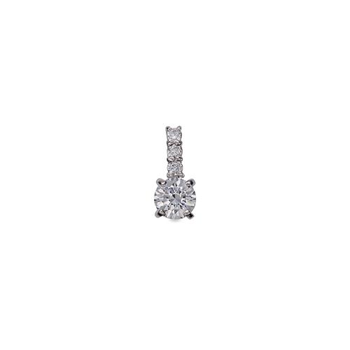 ペンダントトップ 18金 ホワイトゴールド 天然石 メレ付きバチカンの一粒ペンダント 主石の直径約3.8mm 四本爪留め ペンダントヘッドのみ|K18WG 18k 貴金属 ジュエリー レディース メンズ